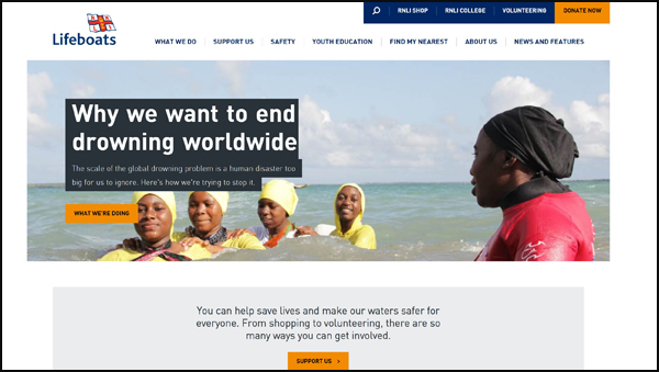 RNLI changed their homepage to include a striking image from one of their overseas projects