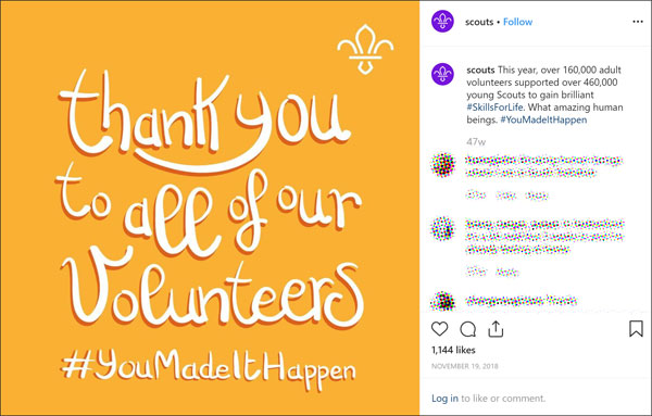 Colourful graphic from Scout - thank you to all of our volunteers. 1144 likes