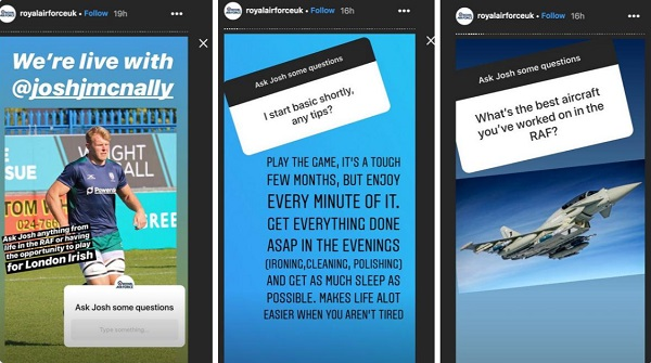 Screenshot from Helpful Digital post about Instagram Stories - shows screenshots from Royal Air Force