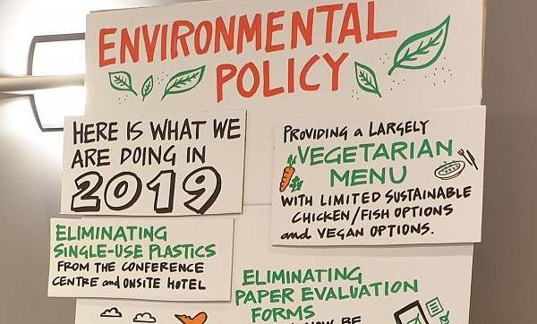 Poster at IFC Holland with list of environmental pledges from the conference