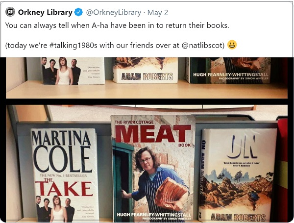 Orkney Library classic tweet from May - Take Meat On - recreating a-ha's classic tune in book form