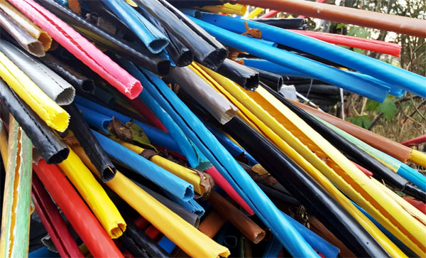 Coloured plastic pipes
