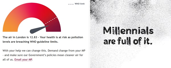 Imagery from BHF campaign. Totaliser shows air quality in London exceeds WHO safe levels