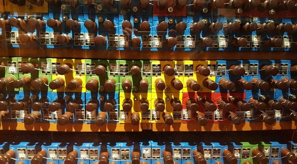 Knobs from an old telephone exchange. Lots of colours and wires