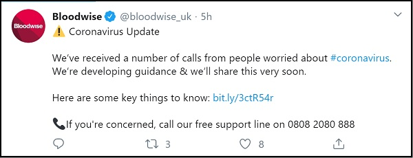Tweet from Bloodwise UK. Very clear layout. Hashtags and signposting to sources of help.