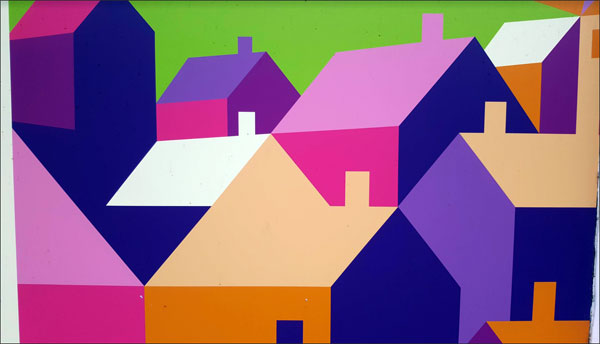Graphic of brightly coloured houses
