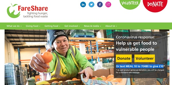 Image from FareShare's homepage with their covid19 appeal