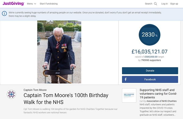 Captain Tom Moore's JustGiving page - total is on £16m