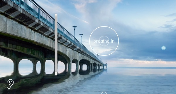 Dorset Mind's nature-scape. Screenshot of pier with 'breathe in' caption in centre.