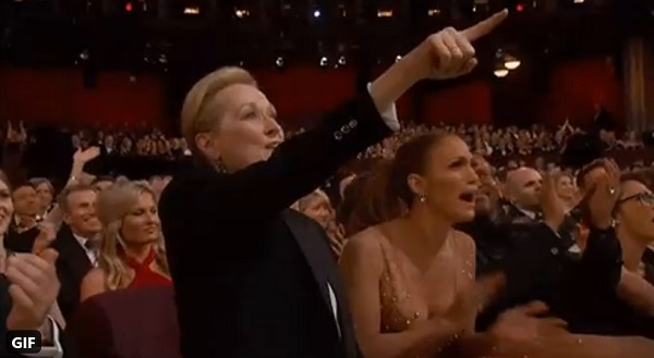 Meryl Streep gif of her standing up at the Oscar, pointing and saying YES YES YES!