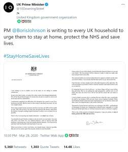 10 Downing Street sharing an image of the letter sent to all households. No alt text. No description.
